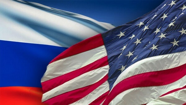American and Russian flags