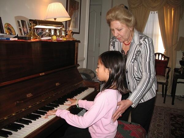 piano teacher Vera Nosina and student